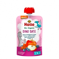 Dino Date - APPLE, BLUEBERRIES with DATES Baby Food Pouch, Organic, HOLLE