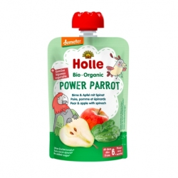 Power Parrot - PEAR & APPLE with SPINACH Baby Food Pouch, Organic, HOLLE