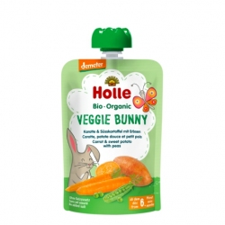 Veggie Bunny - CARROT & SWEET POTATO with PEAS Baby Food Pouch, Organic, HOLLE