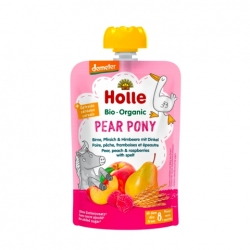 Pear Pony - PEAR, PEACH & RASPBERRIES with SPELT Baby Food Pouch, Organic, HOLLE