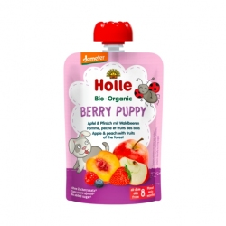 Berry Puppy - APPLE, PEACH with FRUITS OF THE FOREST Baby Food Pouch, Organic, HOLLE