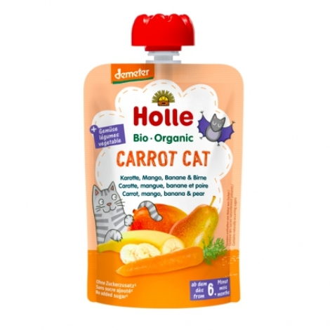 Carrot Cat - CARROT, MANGO, BANANA & PEAR Baby Food Pouch, Organic, HOLLE
